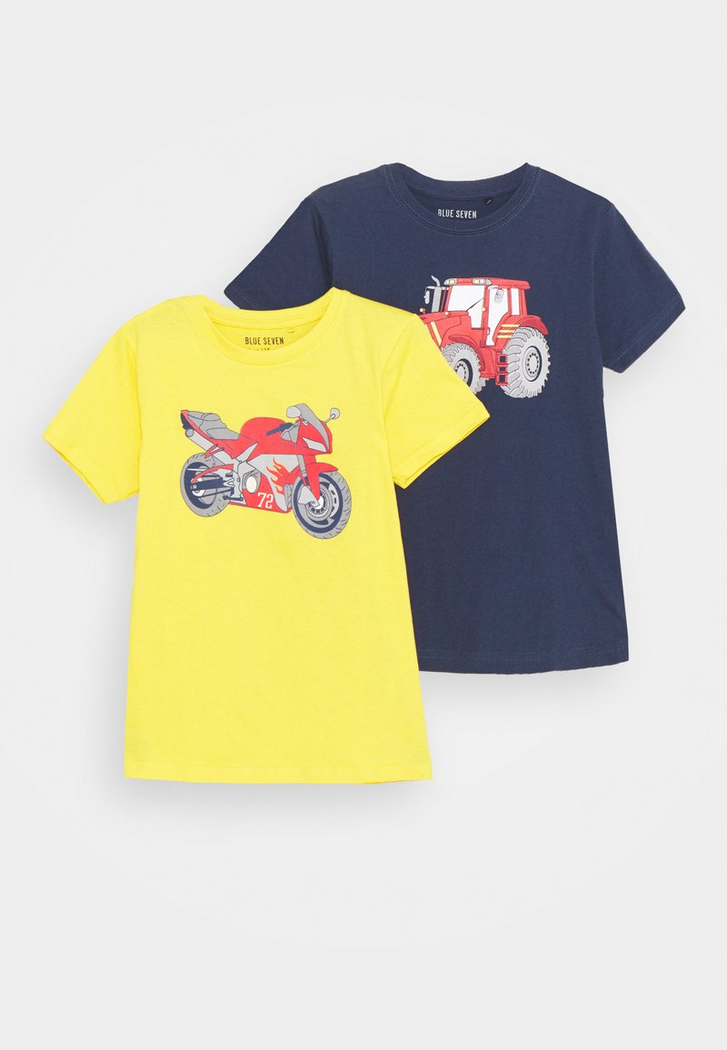 Blue Seven - SMALL BOYS MOTORCYCLE TRACTOR 2 PACK - T-shirt con stampa - yellow/dark blue