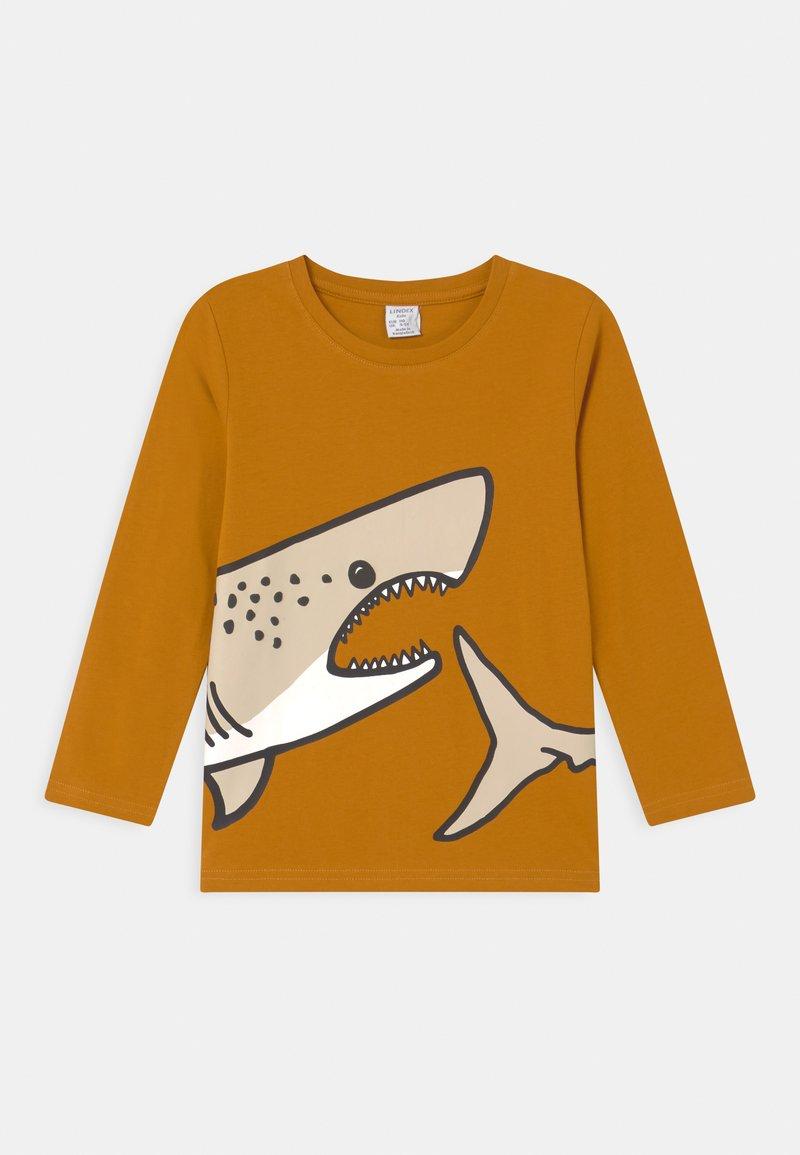 Lindex - PLACED SHARK - Longsleeve - dark dusty yellow