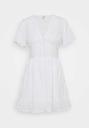 BUTTON UP FRILL DRESS - Denní šaty - white