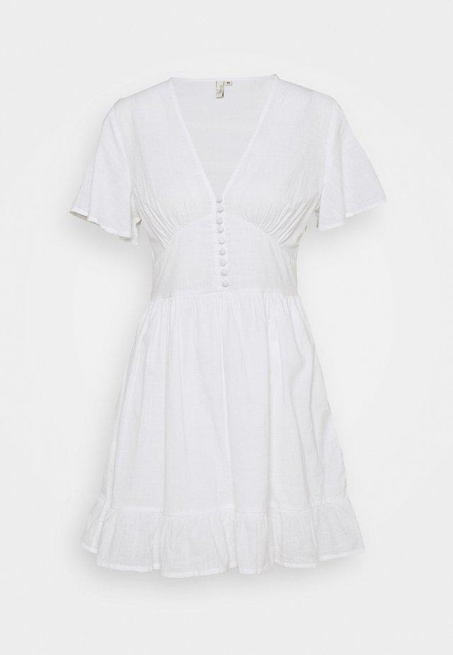 BUTTON UP FRILL DRESS - Day dress - white