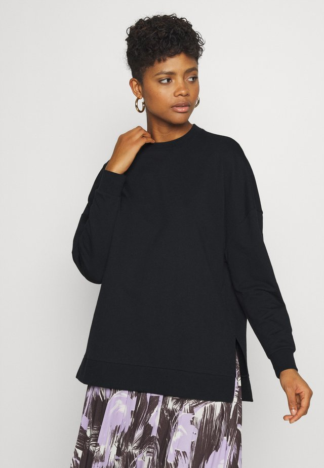 SLIT SIDED LONG OVERSIZED SWEATSHIRT - Sudadera - black
