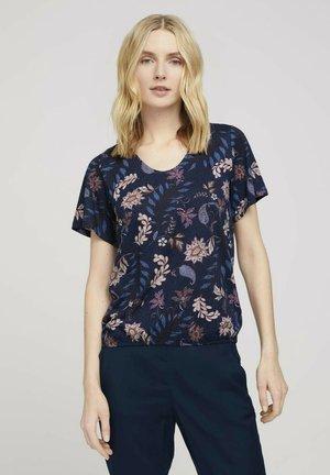MIT WEITEN ÄRMELN - T-shirt print - navy floral design