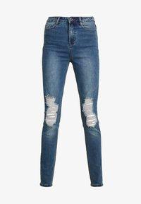 Missguided - SINNER DISTRESS KNEE CUT  - Jeans Skinny - blue - 3