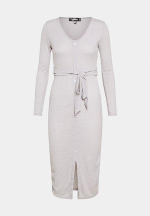 RIBBED BUTTON FRONT DRESS - Jumper dress - grey