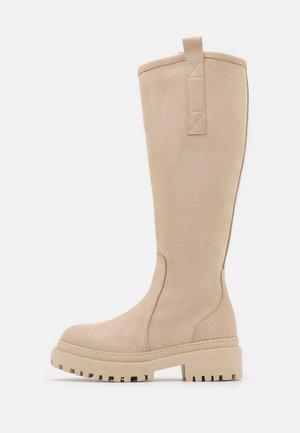 LEATHER - Platform boots - beige