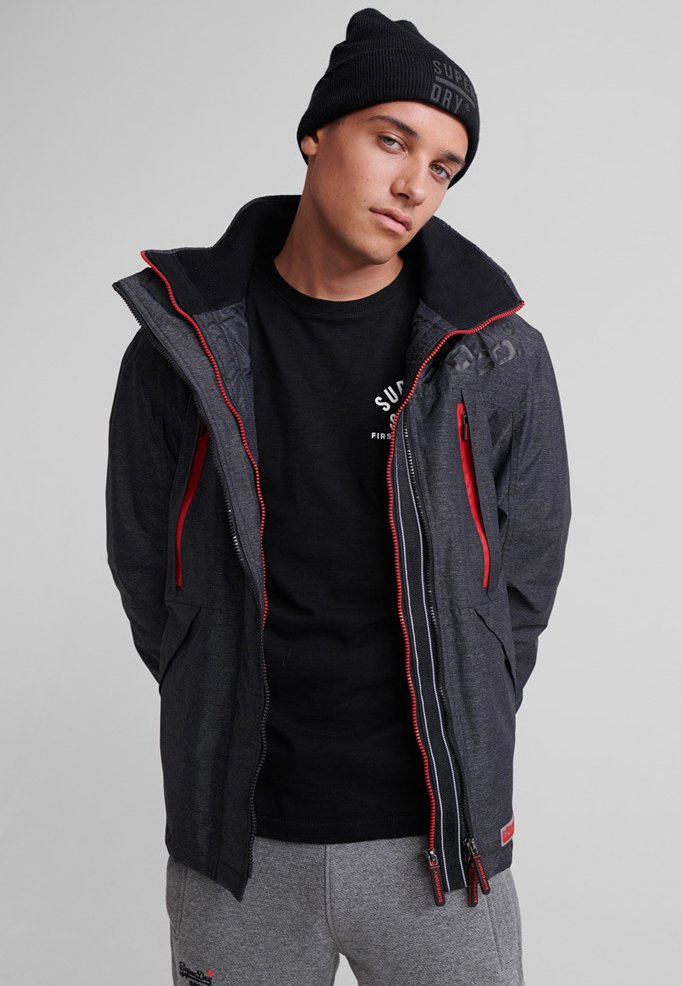 Superdry - HOODED POLAR WIND ATTACKER - Training jacket - charcoal