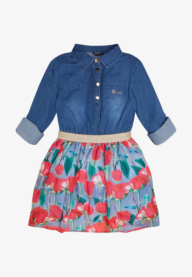 Guess - CHAMBRAY-KLEID BLUMENPRINT - Košilové šaty - mehrfarbig, grundton blau
