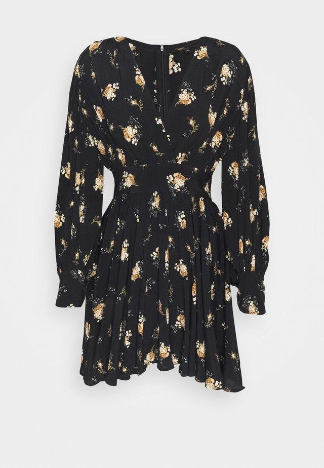 RASMUS - Day dress - fleurs grunges noir camel