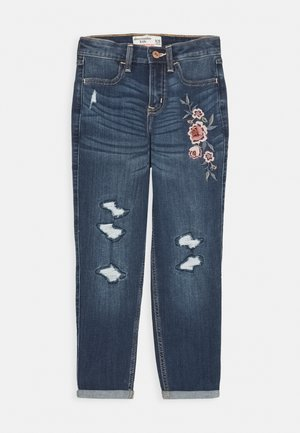 MINI MOM - Jean bootcut - dark wash destroy