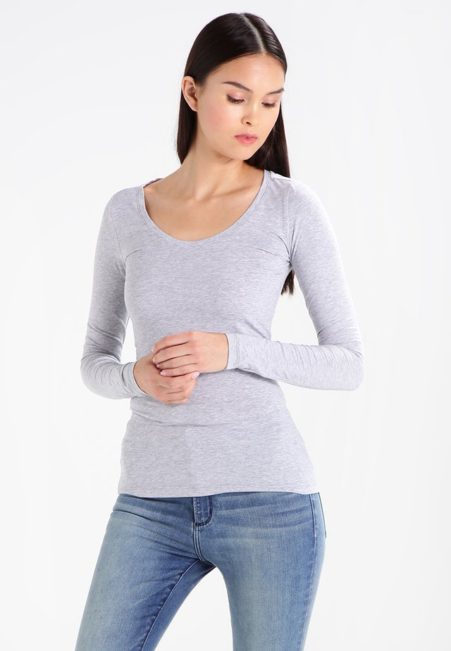 BASE - Long sleeved top - grey htr