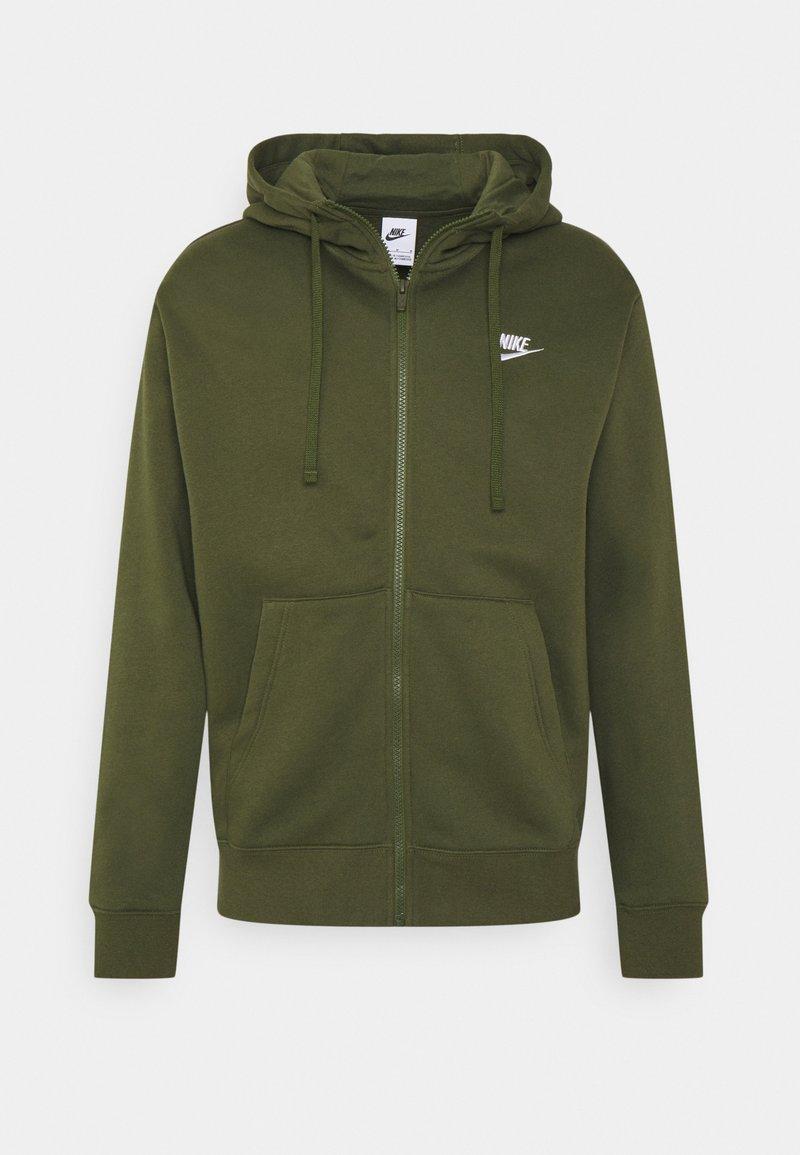 Nike Sportswear - CLUB HOODIE - Zip-up sweatshirt - rough green/white