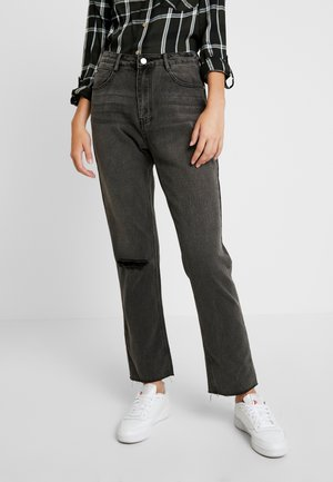 WRATH HIGH WAISTED DOUBLE SLIT RIP STRAIGHT LEG WASHED - Straight leg -farkut - washed grey