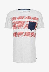 edc by Esprit - PLACED STRIPE - Print T-shirt - light grey - 4