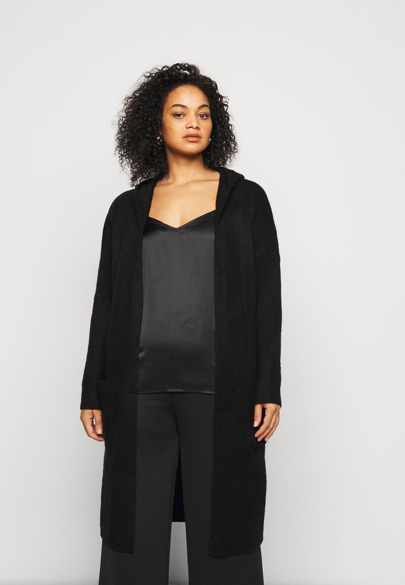 CAPSULE by Simply Be - COSY HOODED UPDATE WITH RIBBED POCKETS - Cardigan - black