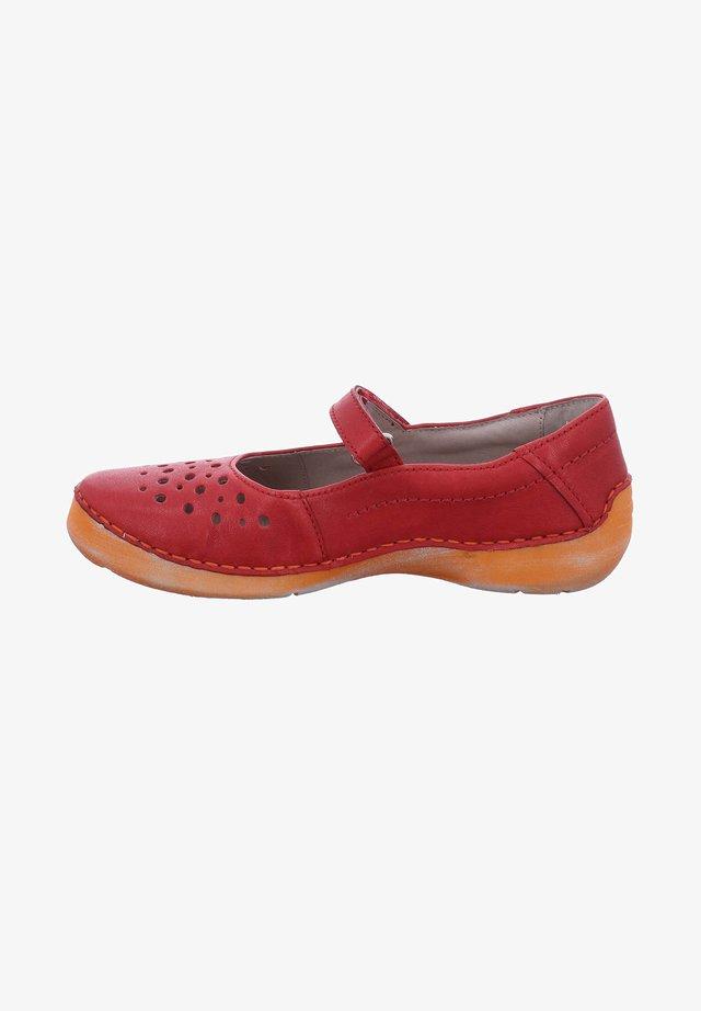 FERGEY - Ankle strap ballet pumps - rot-kombi