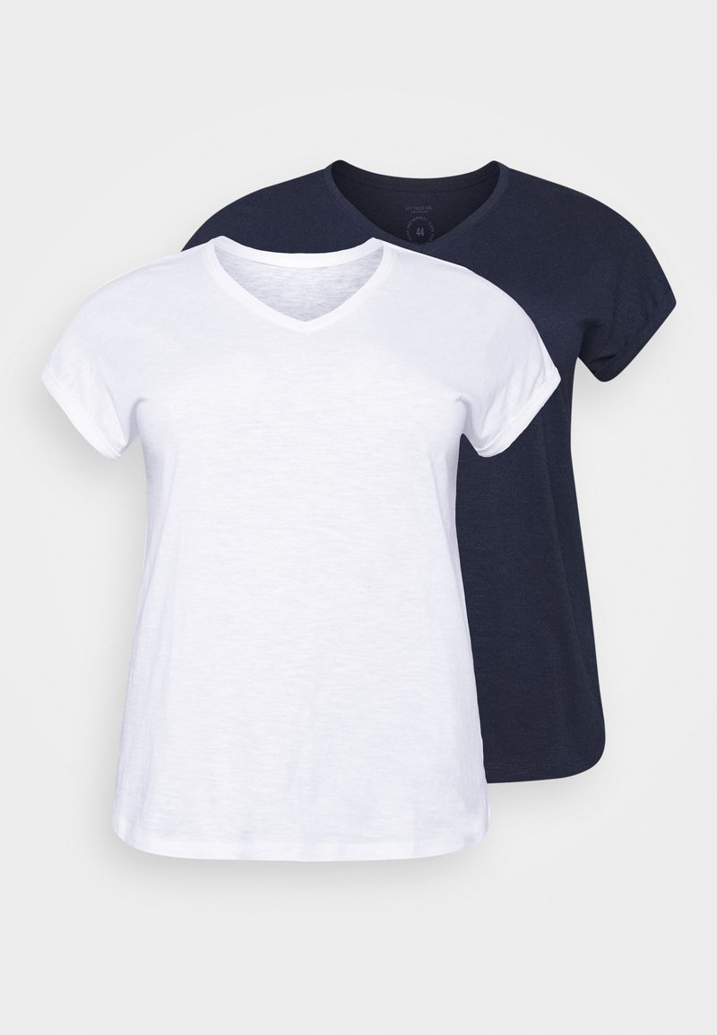 MY TRUE ME TOM TAILOR - 2 PACK - Basic T-shirt - real navy blue
