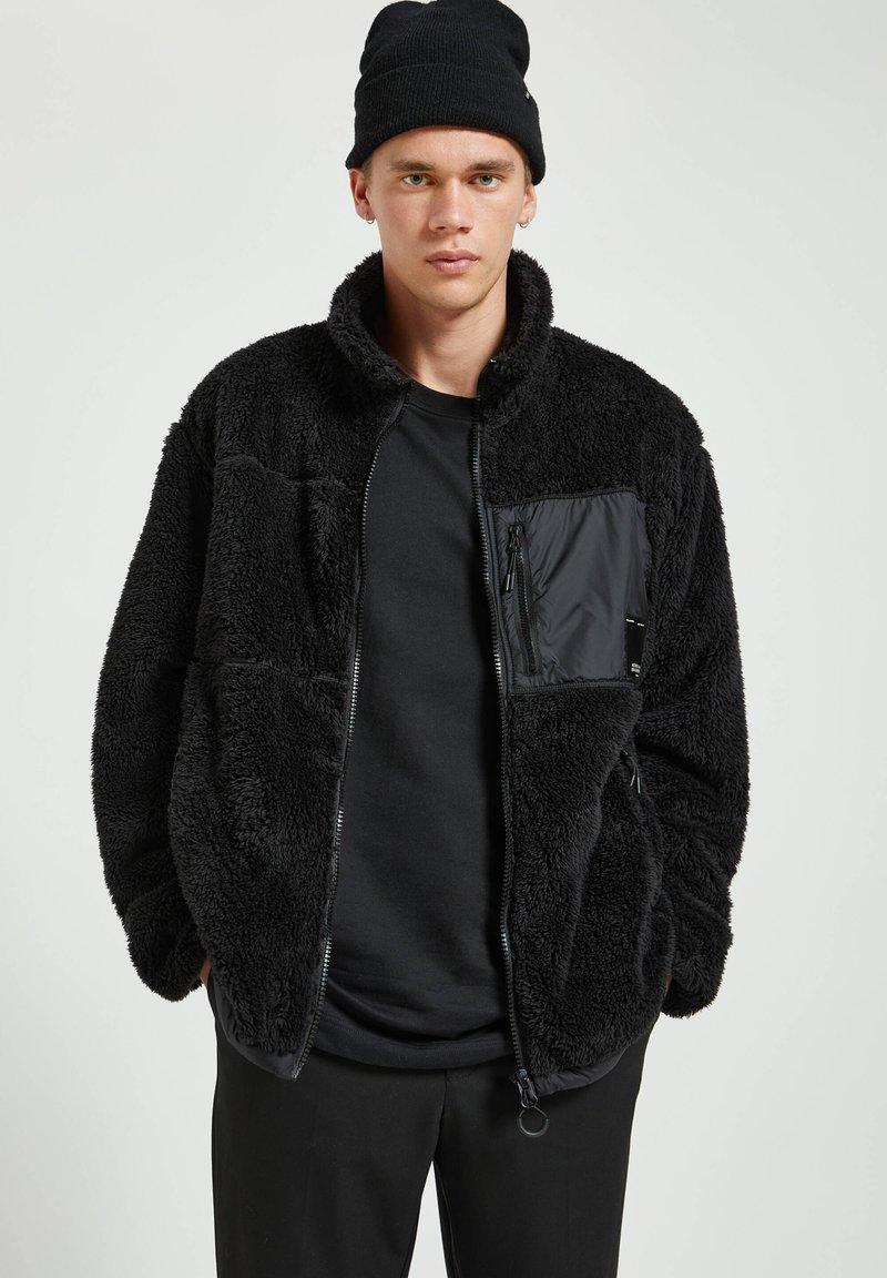 PULL&BEAR - Fleece jacket - mottled black