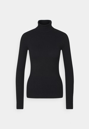 BASIC- RIBBED TURTLE NECK - Strickpullover - black