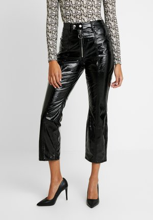 GOOD PATENT EXPOSED ZIPPER AND SEAMS - Trousers - black