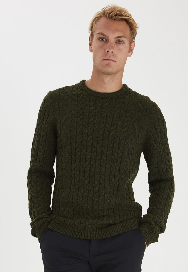 KARL KNIT CABLE - Collegepaita - scarab melange