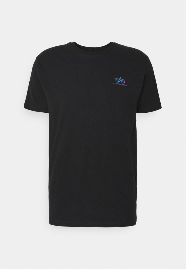 BASIC SMALL LOGO RAINBOW  - Print T-shirt - black
