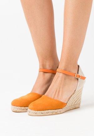 LEATHER  - Højhælede sandaletter / Højhælede sandaler - orange/cognac