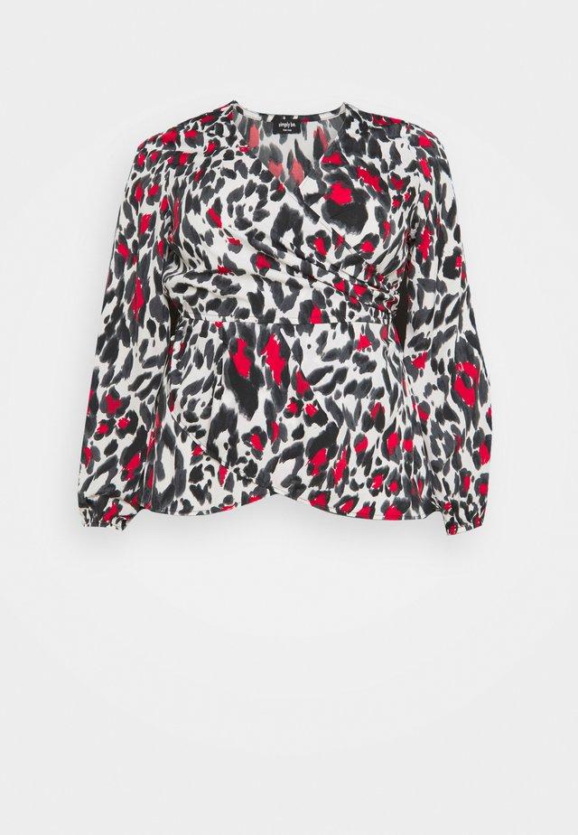 ANIMAL PRINT WRAP FRONT BLOUSE - Maglietta a manica lunga - black