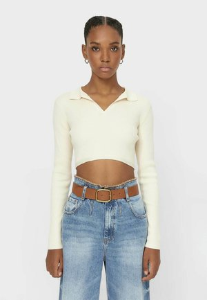 MIT POLO-KRAGEN  - Polo shirt - stone