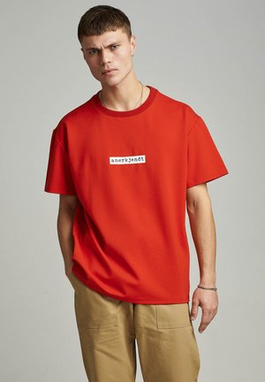Print T-shirt - red clay