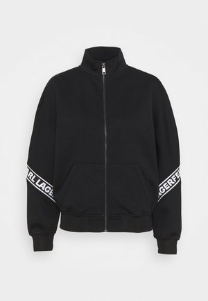 LOGO TAPE ZIP-UP - veste en sweat zippée - black