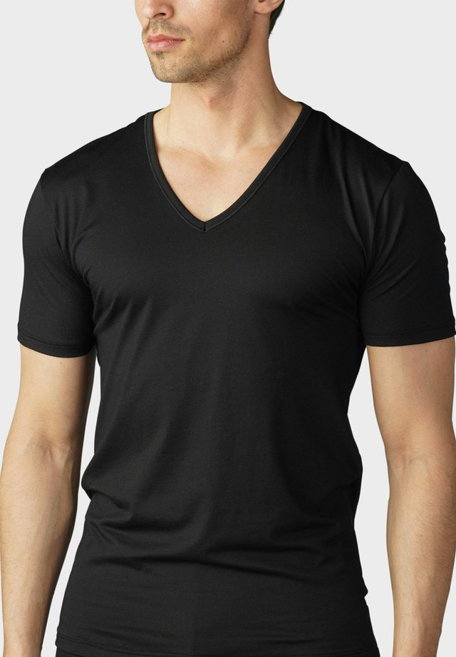 T-SHIRT V-NECK SERIE DRY COTTON - Hemd - schwarz