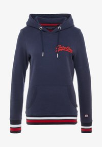 LOGO CHAINSTITCH PATCH ENTRY HOOD - Hoodie - french navy
