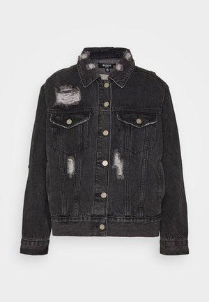 DISTRESSED OVERSIZED BOYFRIEND JACKET - Denim jacket - washed black