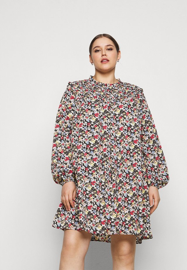 FLORAL HIGH NECK DRESS - Day dress - black