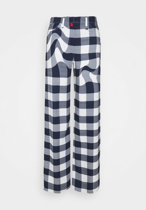 CHECKMATE EVENING PANTS - Broek - white/ blue