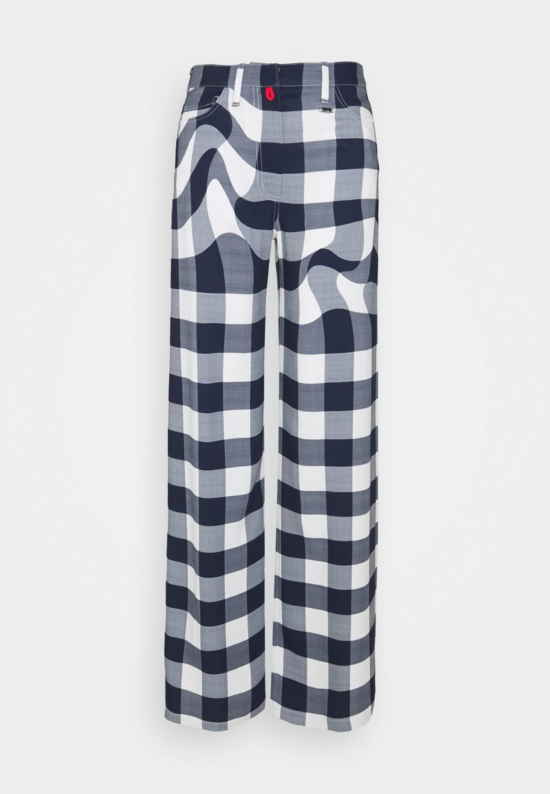 032c - CHECKMATE EVENING PANTS - Trousers - white/ blue