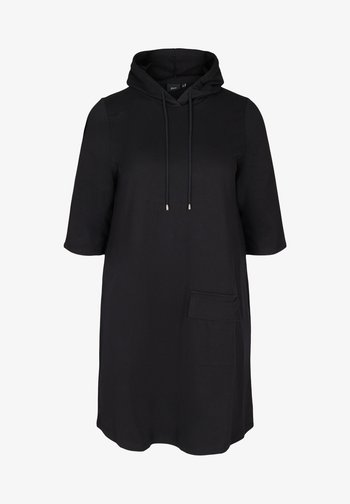 WITH 3/4 LENGTH SLEEVES AND A HOOD - Day dress - black