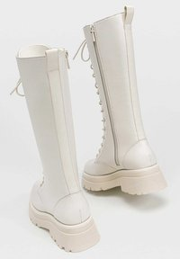 Stradivarius - Lace-up boots - off-white - 2