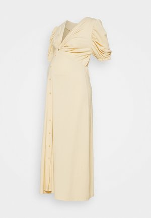 TWIST FRONT MIDI DRESS WITH SHORT SLEEVES AND LOW V-NECK - Jersey dress - soft yellow
