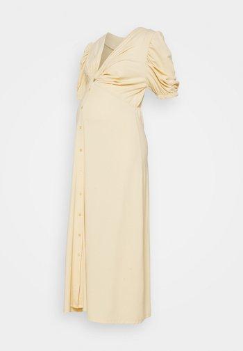 TWIST FRONT MIDI DRESS WITH SHORT SLEEVES AND LOW V-NECK - Sukienka z dżerseju - soft yellow