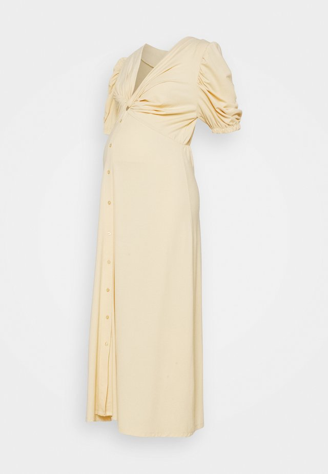 TWIST FRONT MIDI DRESS WITH SHORT SLEEVES AND LOW V-NECK - Robe en jersey - soft yellow