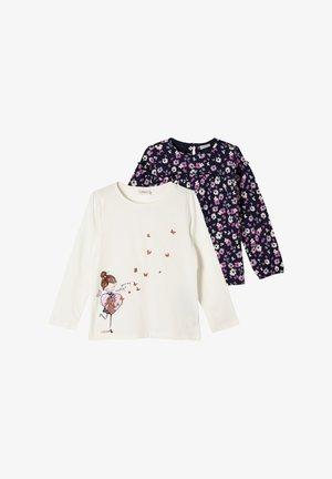 2 PACK - Long sleeved top - cream placed print/navy aop