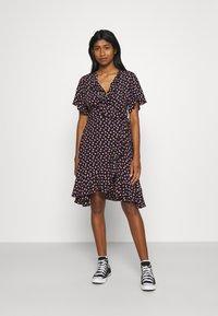 Colourful Rebel - TELSI HEARTS WRAP DRESS - Day dress - black - 0
