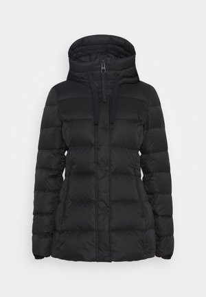 SHORT FILLED FIX HOOD ZIPPER POCKETS - Down jacket - black