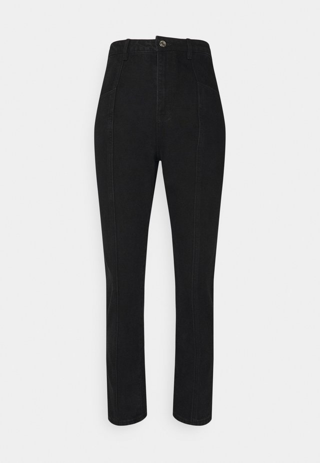 FRONT SEAM DETAIL - Straight leg jeans - black