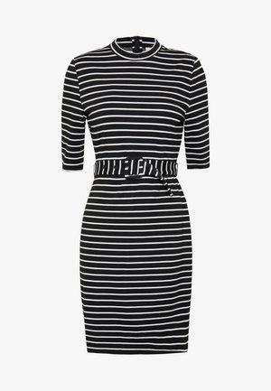 3/4 BELTED DRESS - Shift dress - black/cloud dancer
