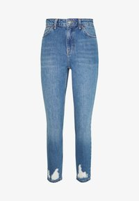 Topshop Petite - MOM RIP HEM - Jeansy Relaxed Fit - blue denim - 5