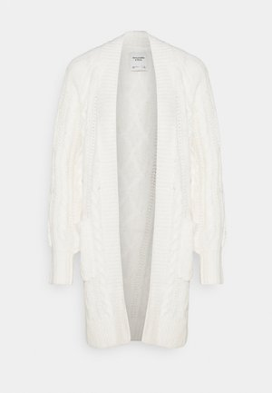 HOODED PATTERN CABLE CARDI - Kardigan - cream