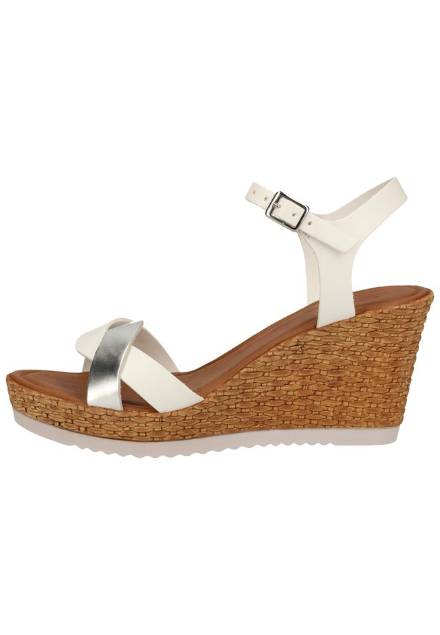 SANDALEN - Wedge sandals - white/silver 193