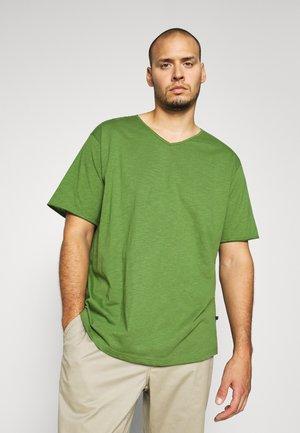 RAW VNECK SLUB TEE - T-shirts basic - oliv